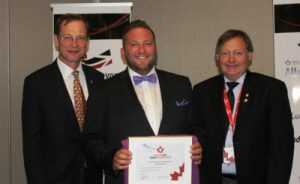 (l-r) President, Insurance Brokers Association of Canada, Robert Harrison, Mark Nodwell, Pre-hospital Care Advisory Team Chair Terry Abrams (photo by Charlie Turner)